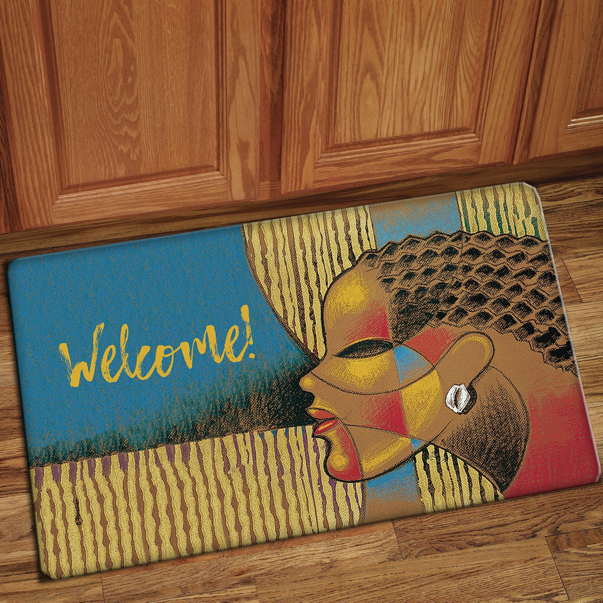 "Welcome: African American Interior Floor Mat by Larry ""Poncho"" Brown"