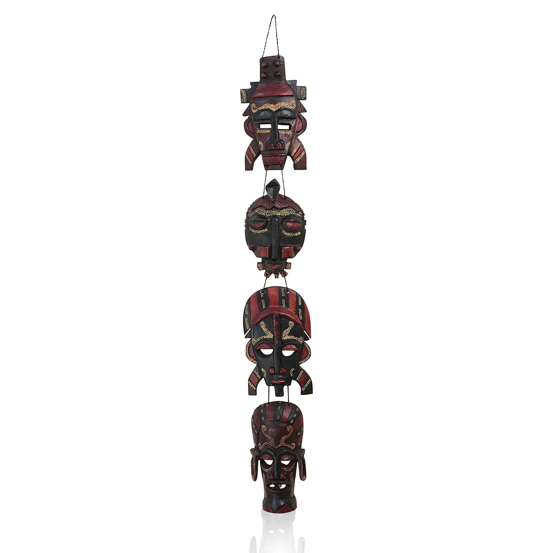 African Mask Wall Hanging Set (4 Piece)