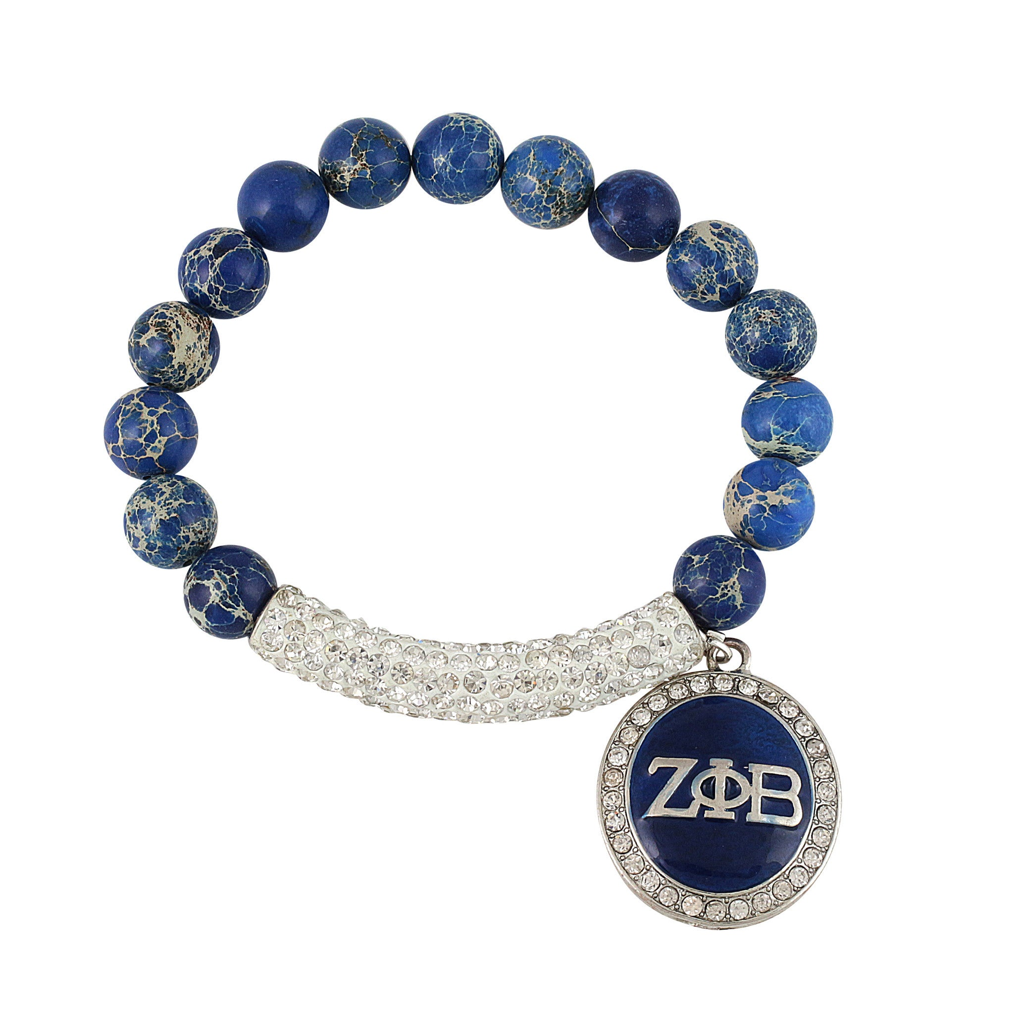 Zeta Phi Beta Arm Candy Jasper Gemstone & Pave Bling Bracelet