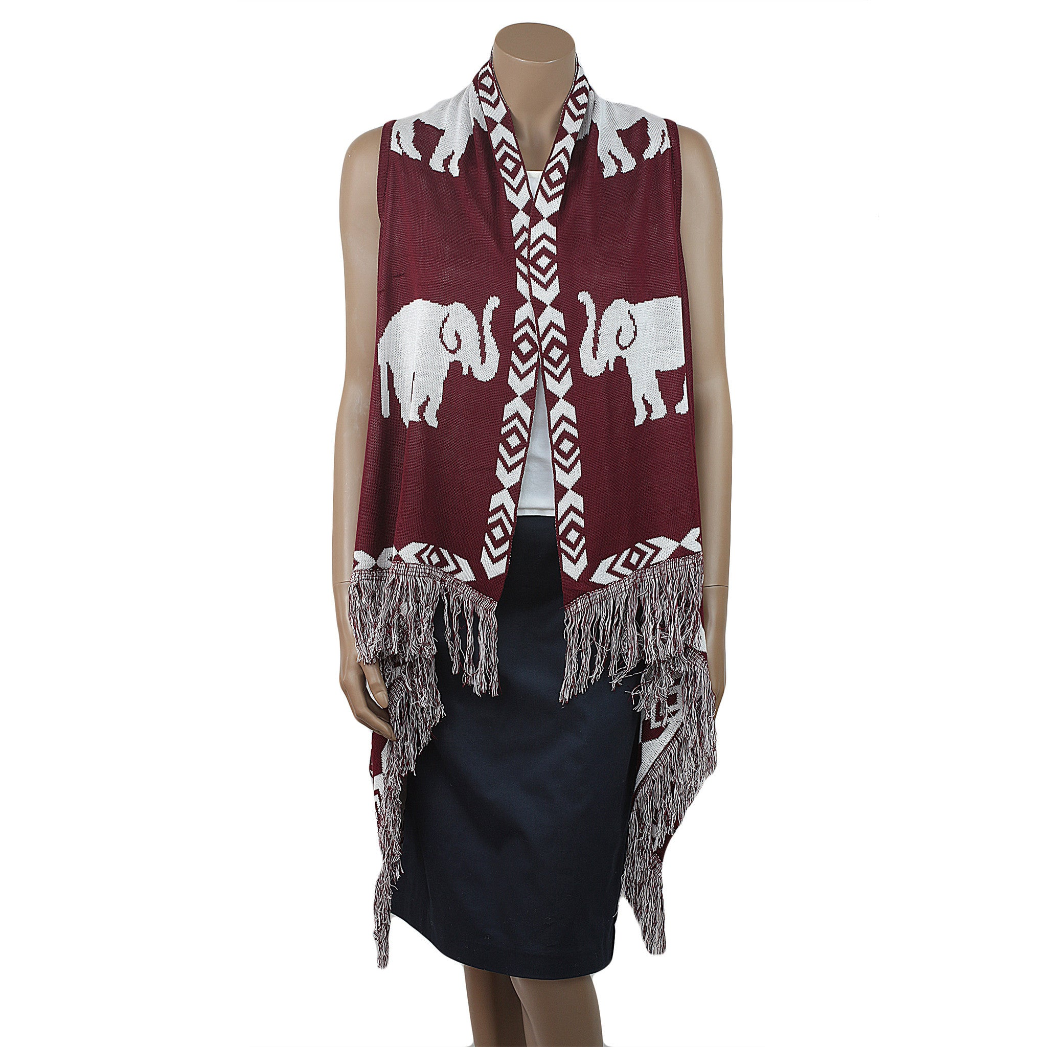 Delta Sigma Theta Inspired Crimson and Cream Elephant Fringe Vest (Front)