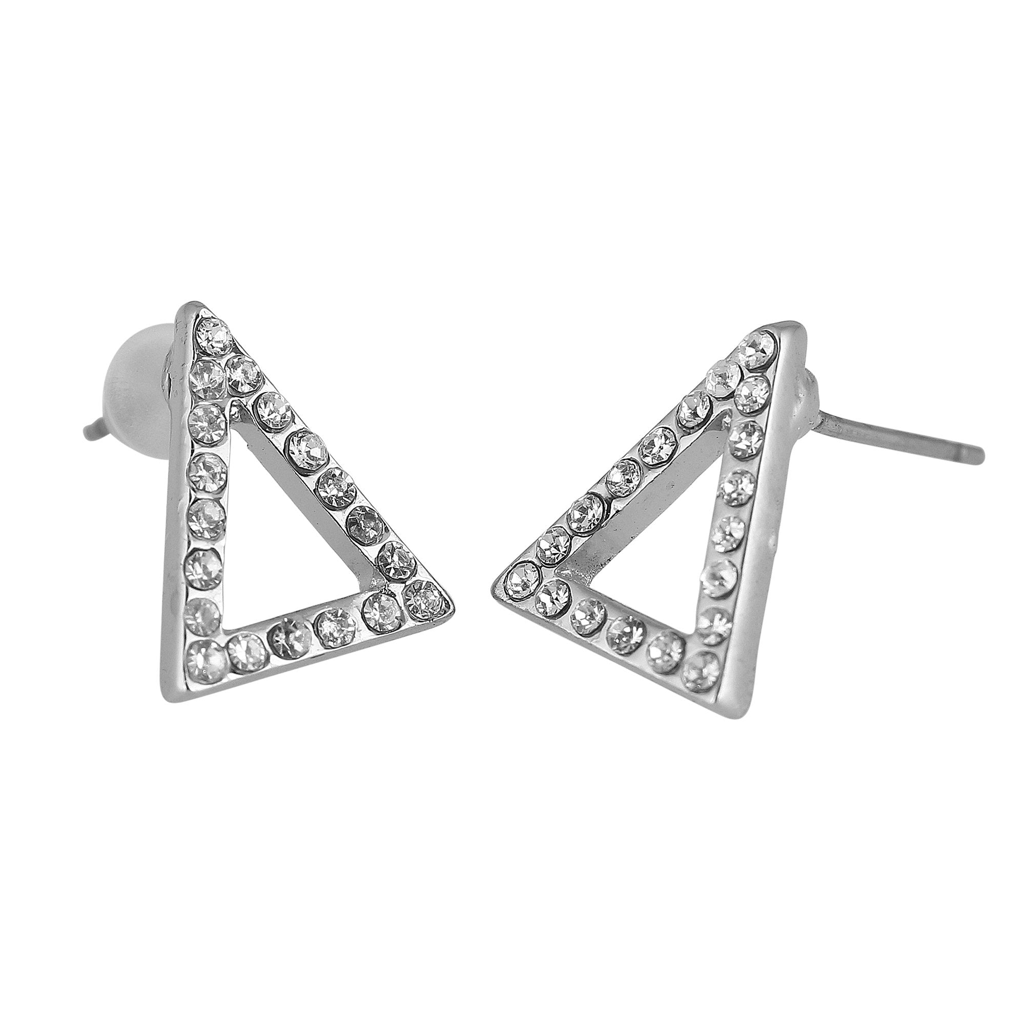 Delta Sigma Theta Inspired Sparking Pyramid Stud Earrings (Silver Tone)