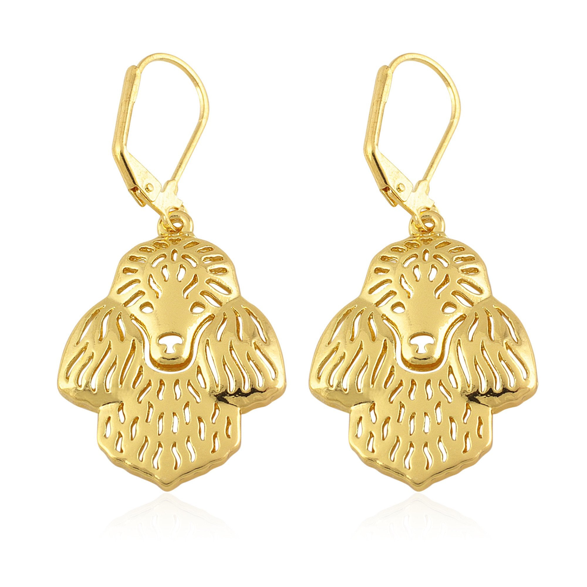 Sigma Gamma Rho Inspired Poodle Head Dangle Earrings (Gold Toned)