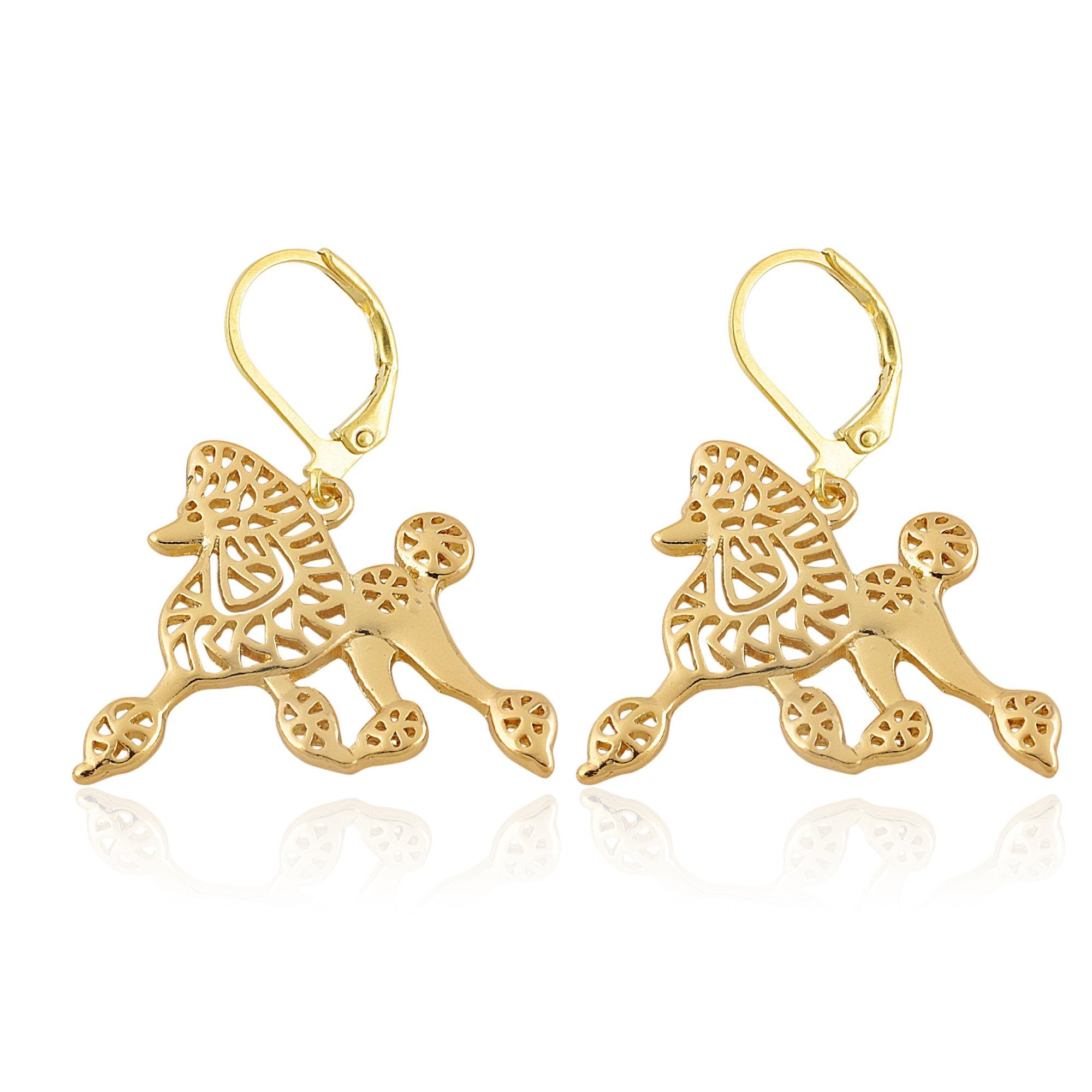 Sigma Gamma Rho Pretty Poodle Dangle Earrings (Gold Tone)