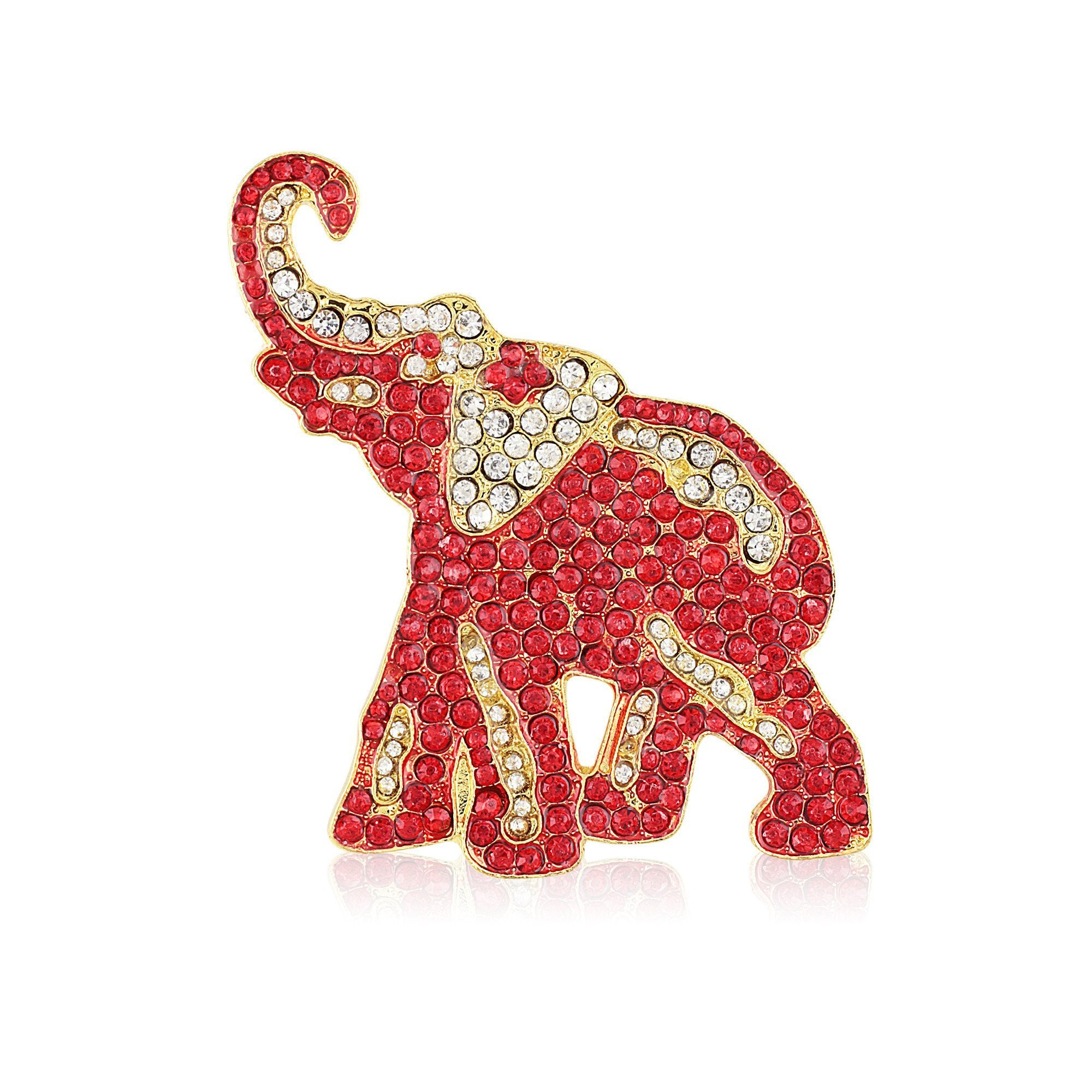 Delta Sigma Theta Inspired Crimson and Crystal Elephant Brooch (Gold Tone)