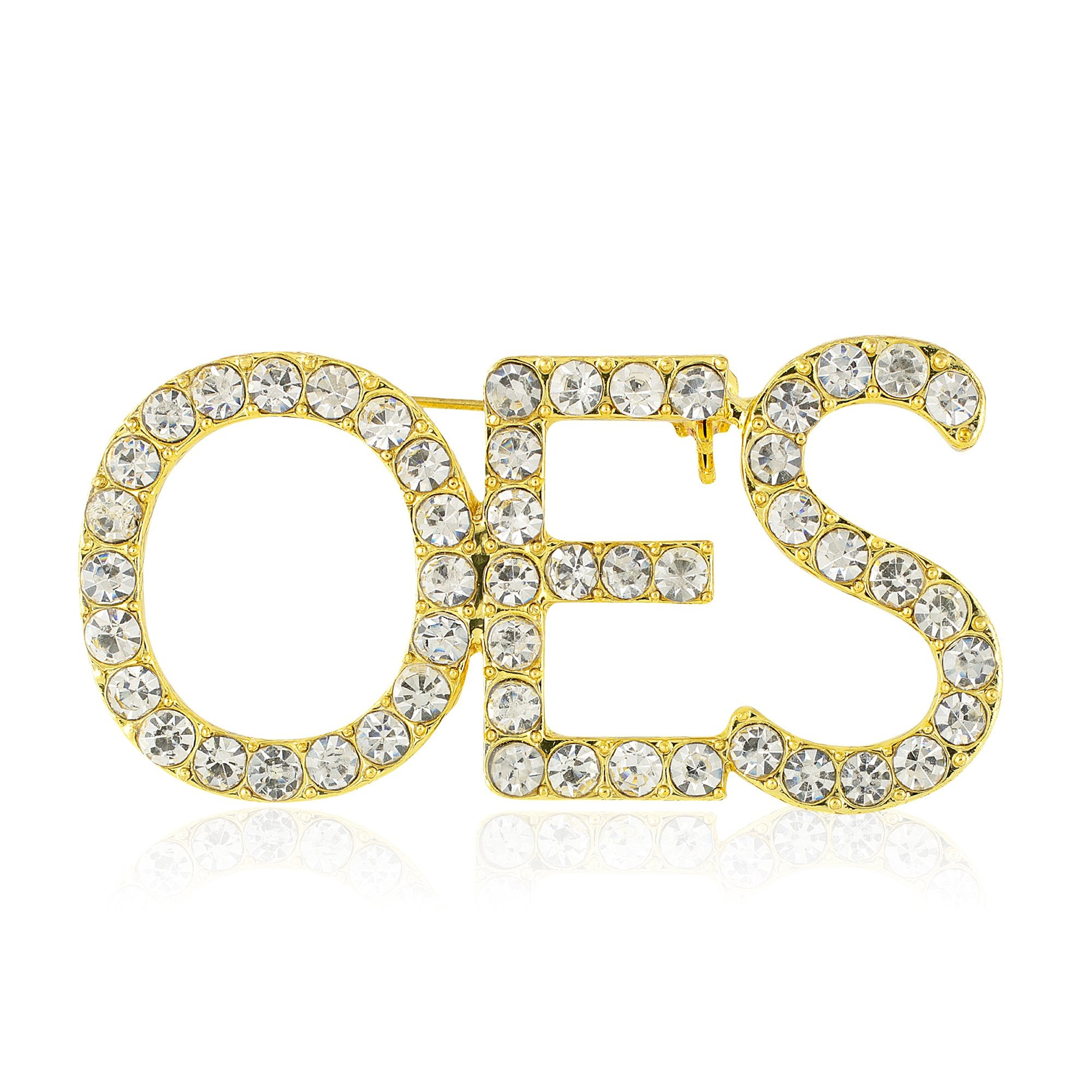 "Order of the Eastern Star ""OES"" Sparkling Crystal Brooch (Gold Toned)"