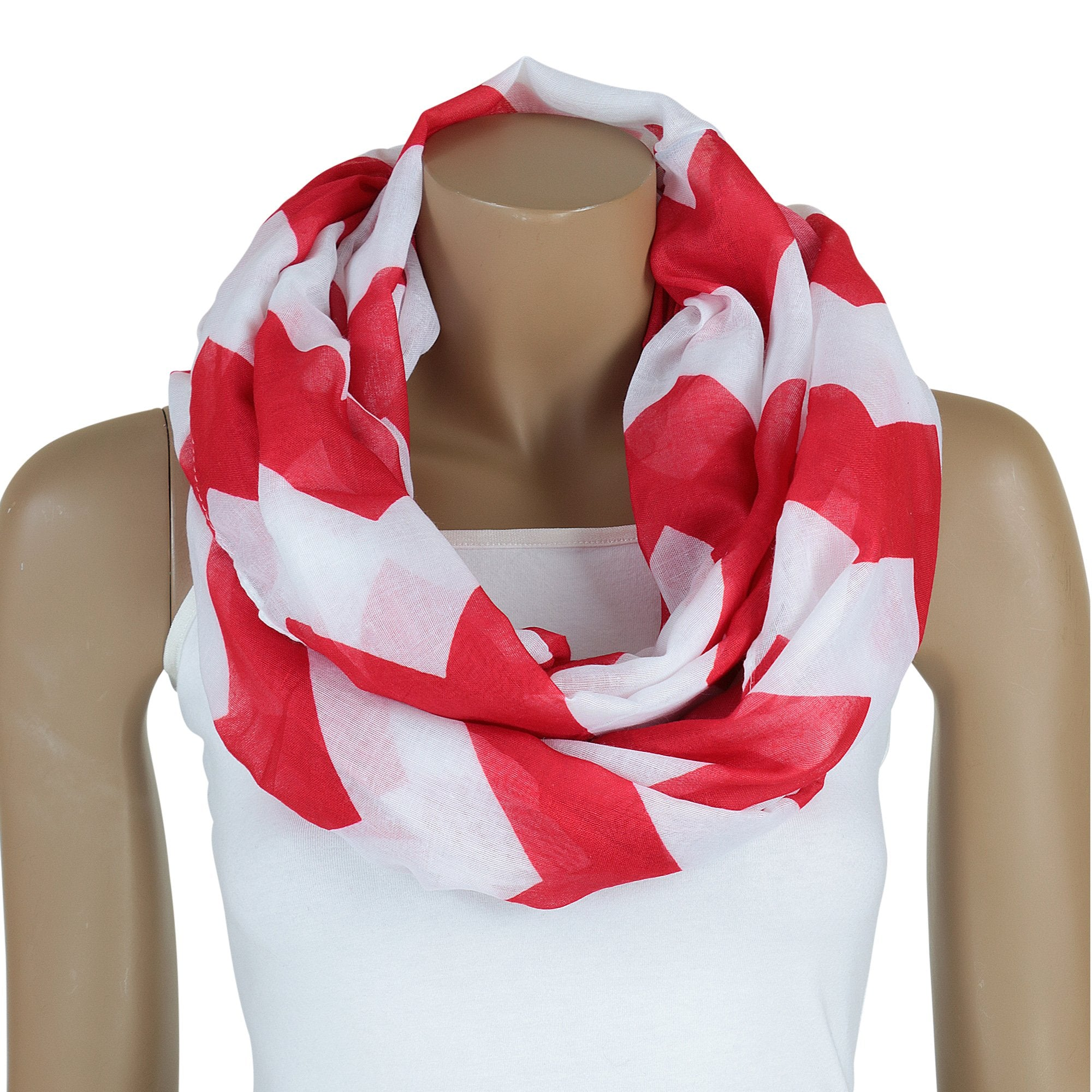 Delta Sigma Theta Inspired Red and White Oversized Chevron Infinity Scarf