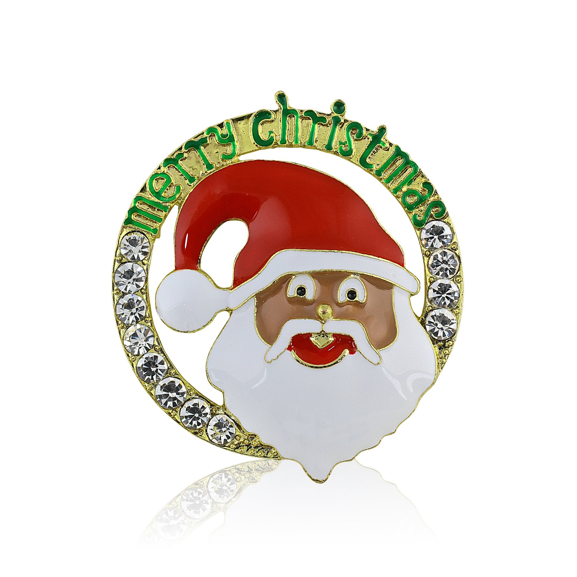 Merry Christmas: African American Santa Claus Brooch (Gold Tone)