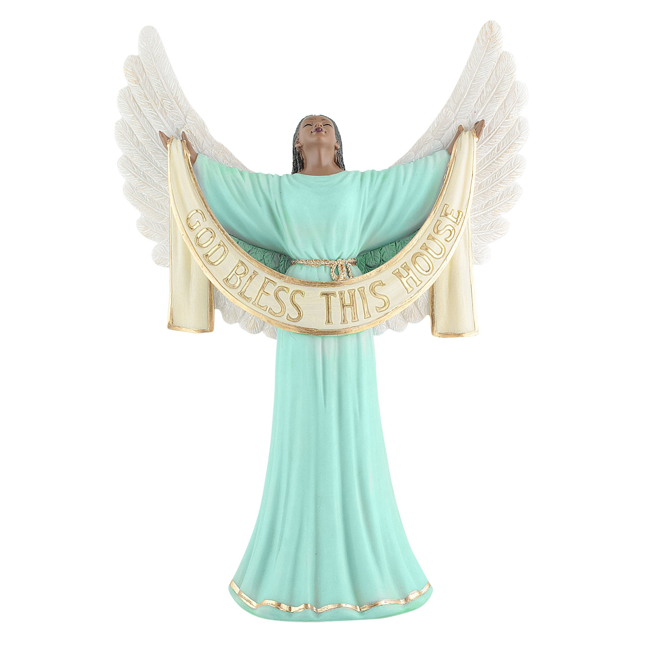 God Bless This House (Green): African American Angelic Figurine