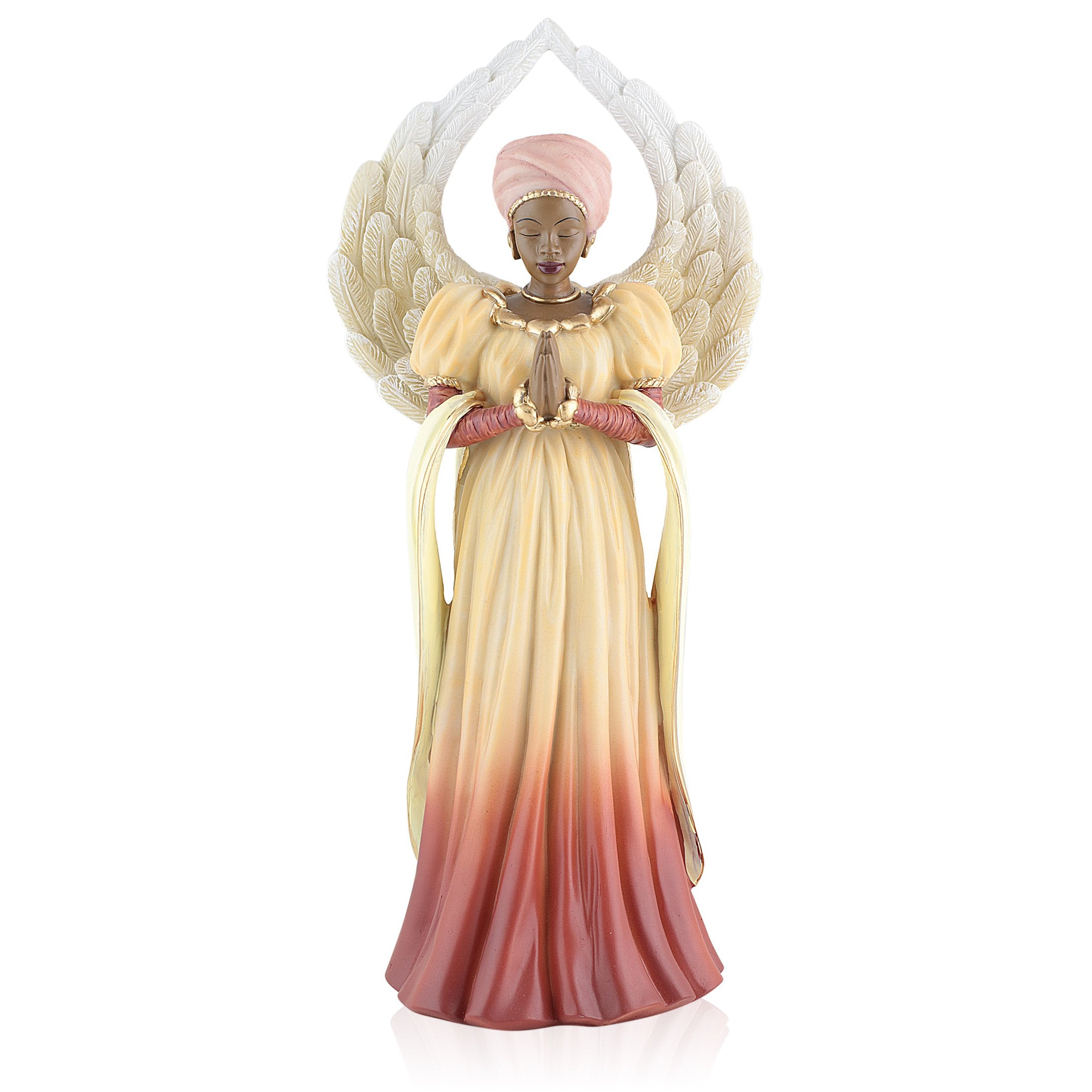 Serenity (Orange): African American Angel Figurine by Positive Image Gifts