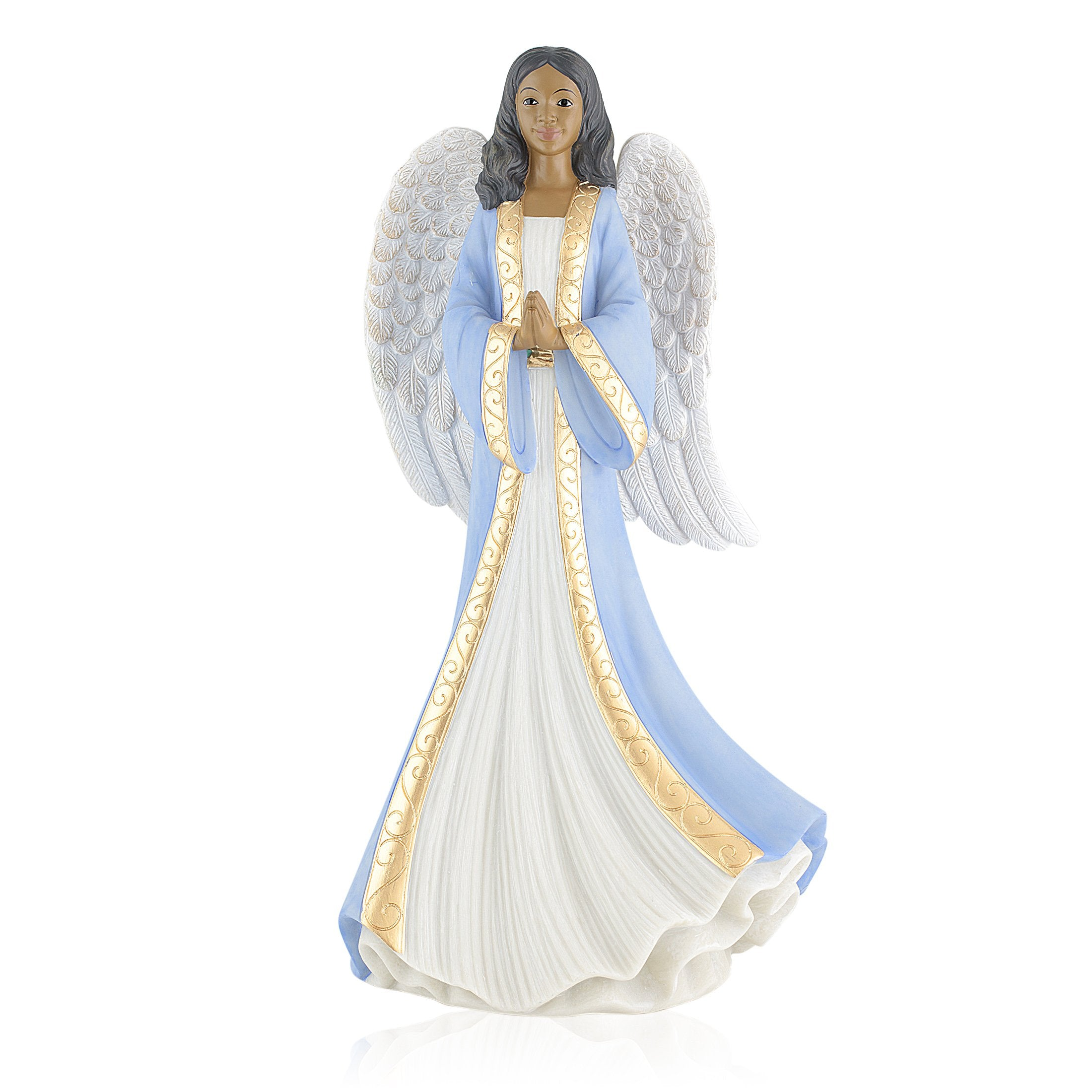 Humble Prayer (Blue): African American Angel Figurine by Positive Image Gifts