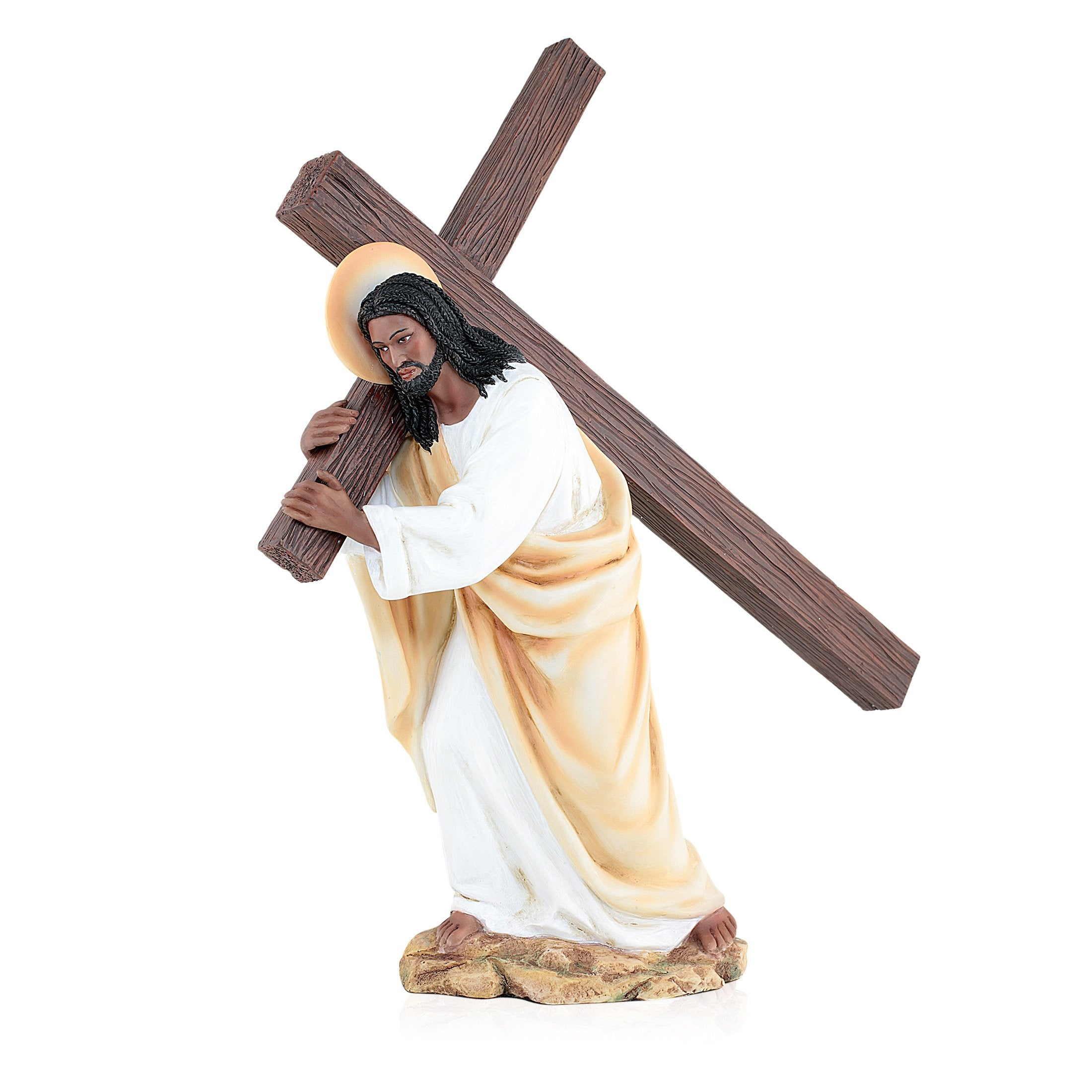 Carry the Cross: African American Jesus Figurine by UniverSoul Gifts (Front)