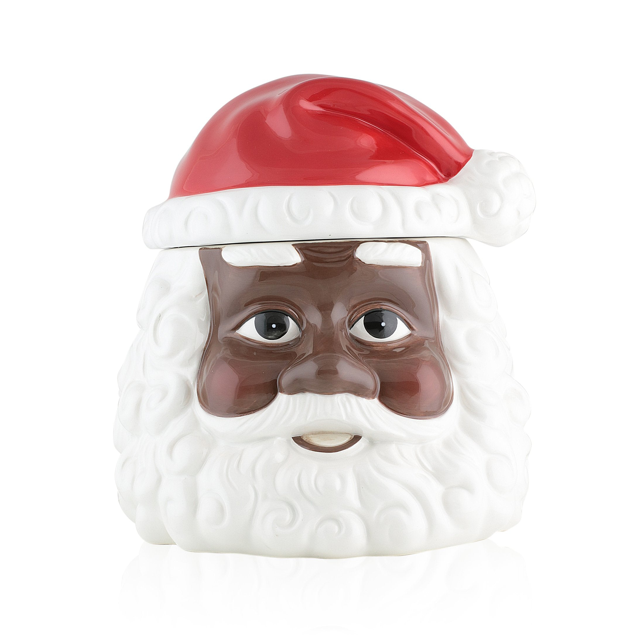 African American Santa Claus Christmas Cookie Jar by UniverSoul Gifts (Front)
