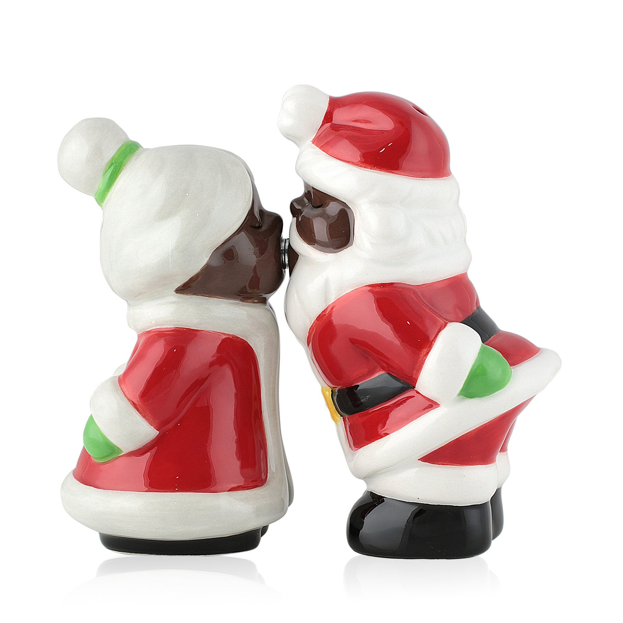 African American Santa Claus Salt and Pepper Shaker Set (Mr. and Mrs. Claus)
