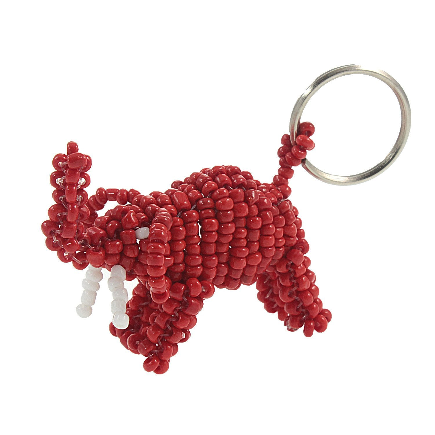 Ugandan Red Beaded Elephant Key Chain