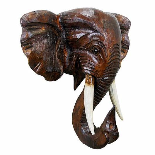 Hand Made Wooden Elephant Mask (Indonesia) by Stoneage Global Imports