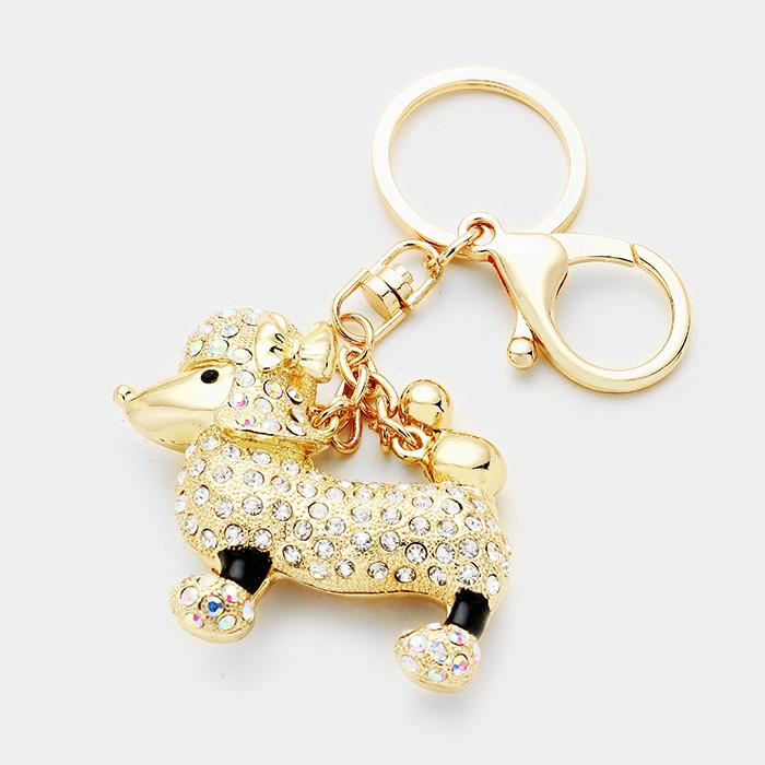 Sigma Gamma Rho Sparkling Poodle Key Chain by Poodle Boutique