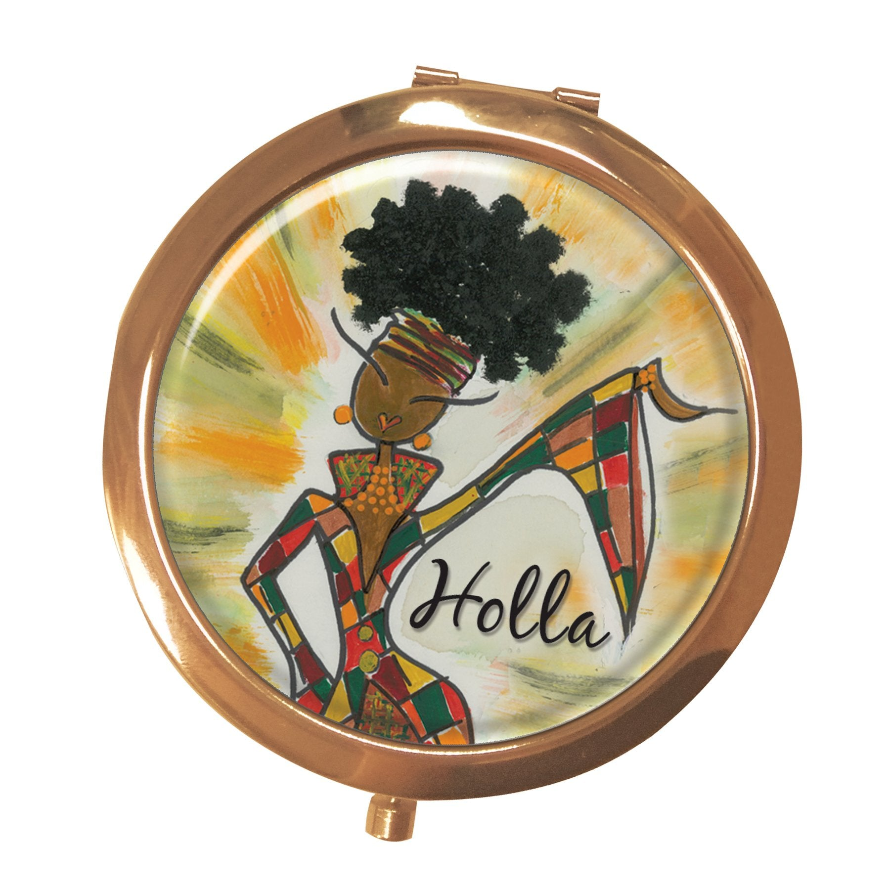 Holla: African American Pocket Mirror by Kiwi McDowell