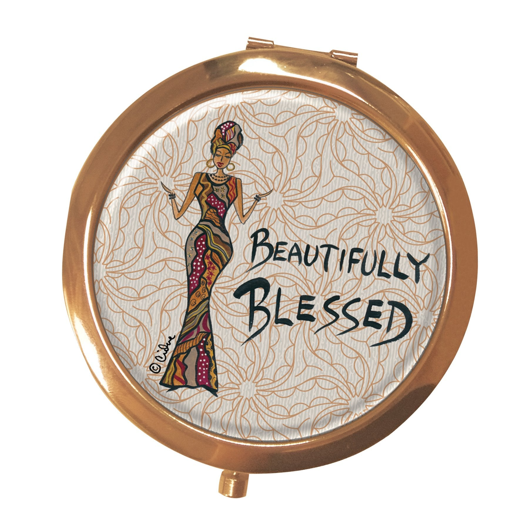 Beautifully Blessed: African American Pocket Mirror by Cidne Wallace
