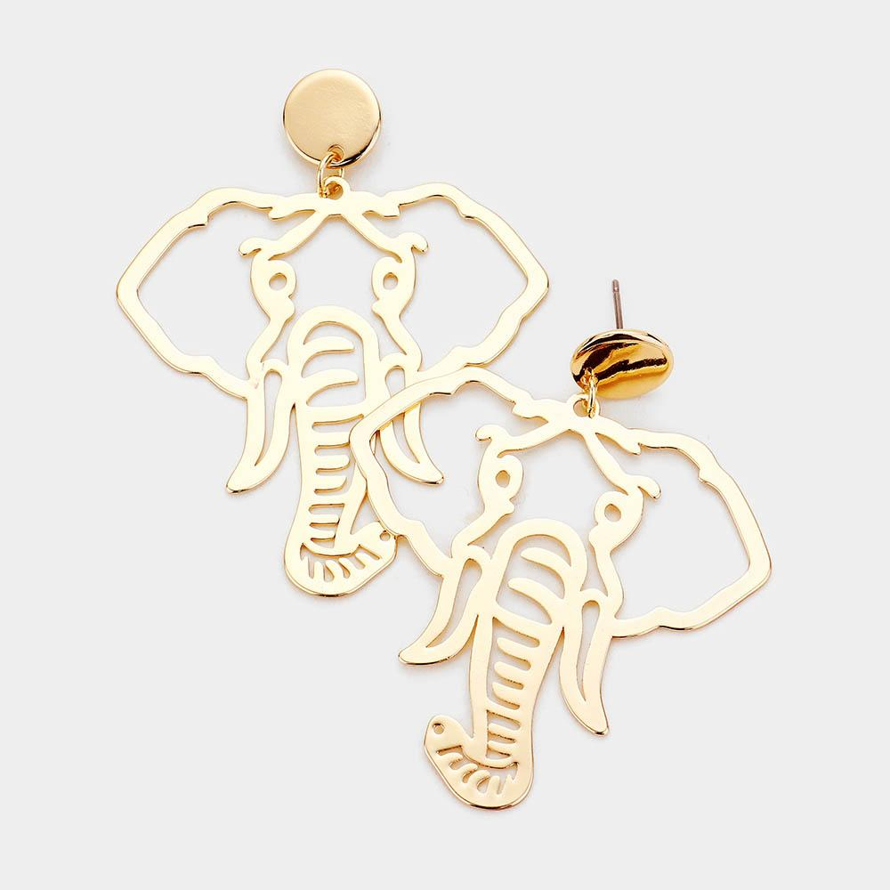Metal Cut Out Elephant Drop/Dangle Earrings by Elephant Boutique (Gold Tone)