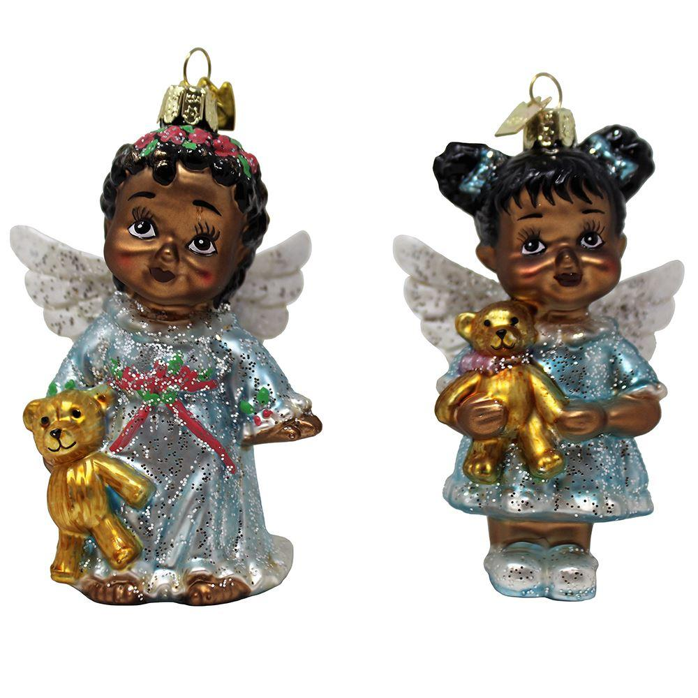 Baby Angels with Teddy Bears: African American Christmas Ornament (Noble Gems Collection)