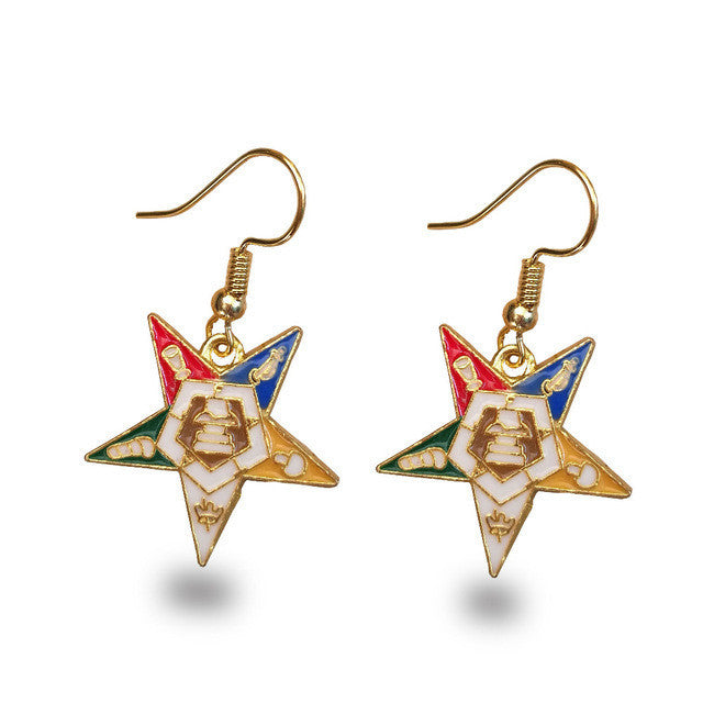 Order of the Eastern Star Gold Tone Drop/Dangle Earrings