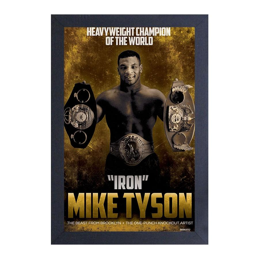 Mike Tyson: Heavyweight Champion of the World by Pyramid America (Black Frame)