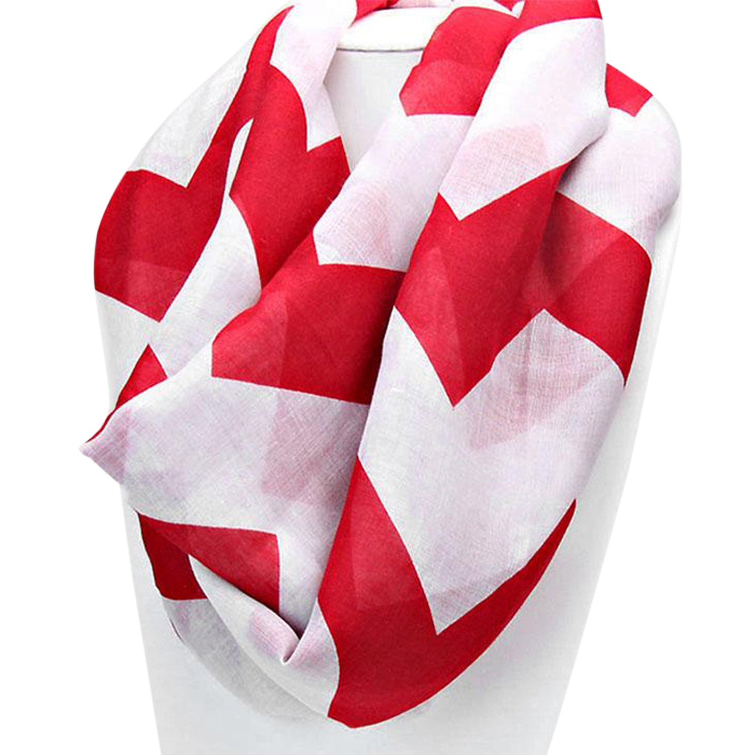 Delta Sigma Theta Inspired Crimson and White Chevron Infinity Scarf