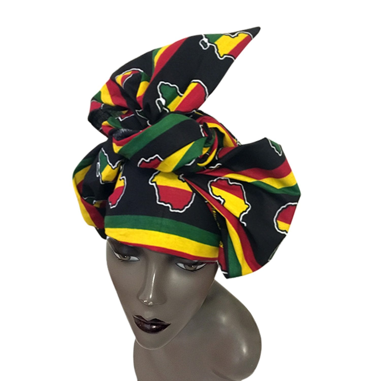 Africa!: Authentic African Wax Print Head Wrap by Boutique Africa