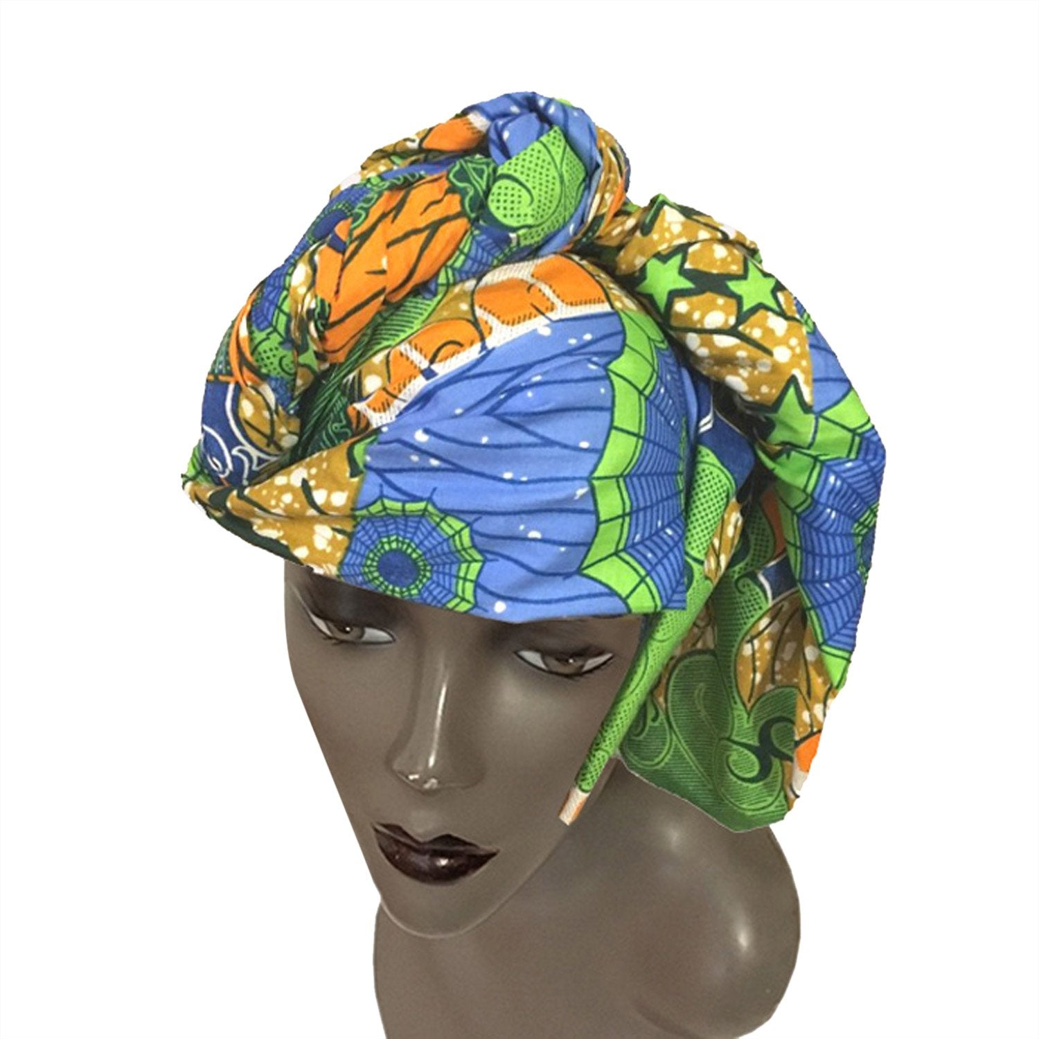 Authentic African Ankara (Wax Print) Fabric Head Wrap by Boutique Africa