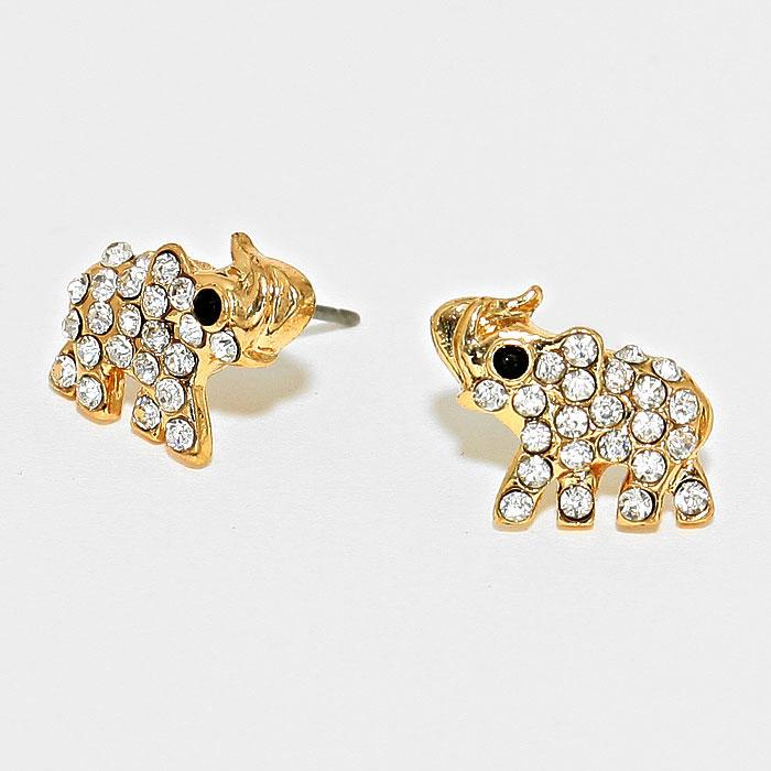 Sparkling Crystal Pave Elephant Stud Earrings by Elephant Boutique (Gold Tone)