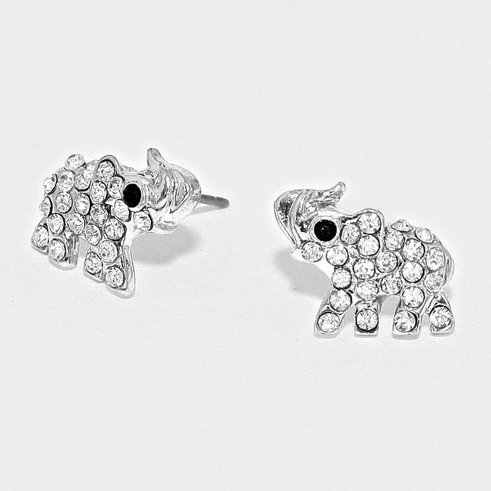 Sparkling Crystal Pave Elephant Stud Earrings by Elephant Boutique (Silver Tone)