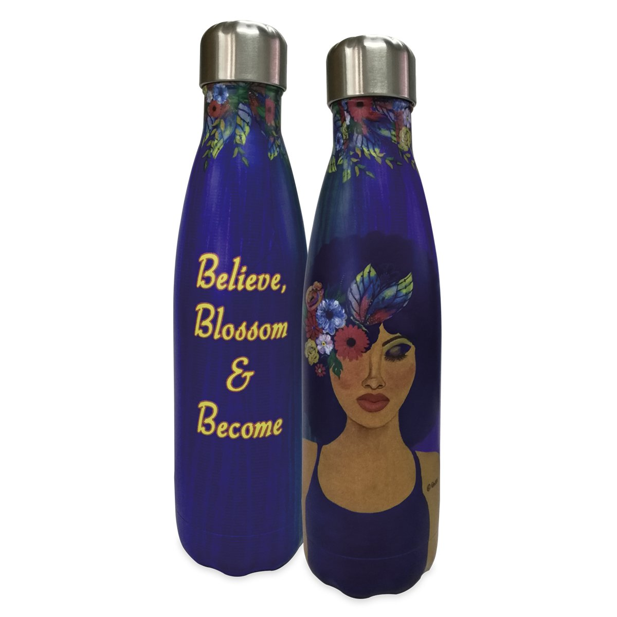 Believe, Blossom and Become: African American Stainless Steel Bottle by GBaby
