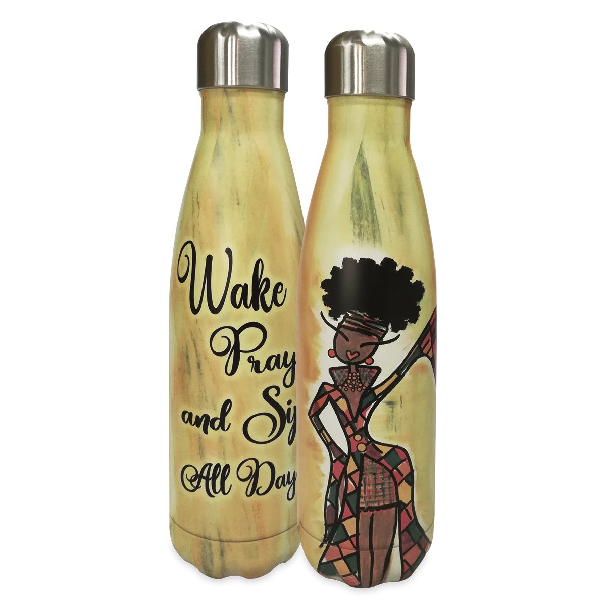 Wake, Pray & Sip All Day: African American Stainless Steel Bottle by Kiwi McDowell
