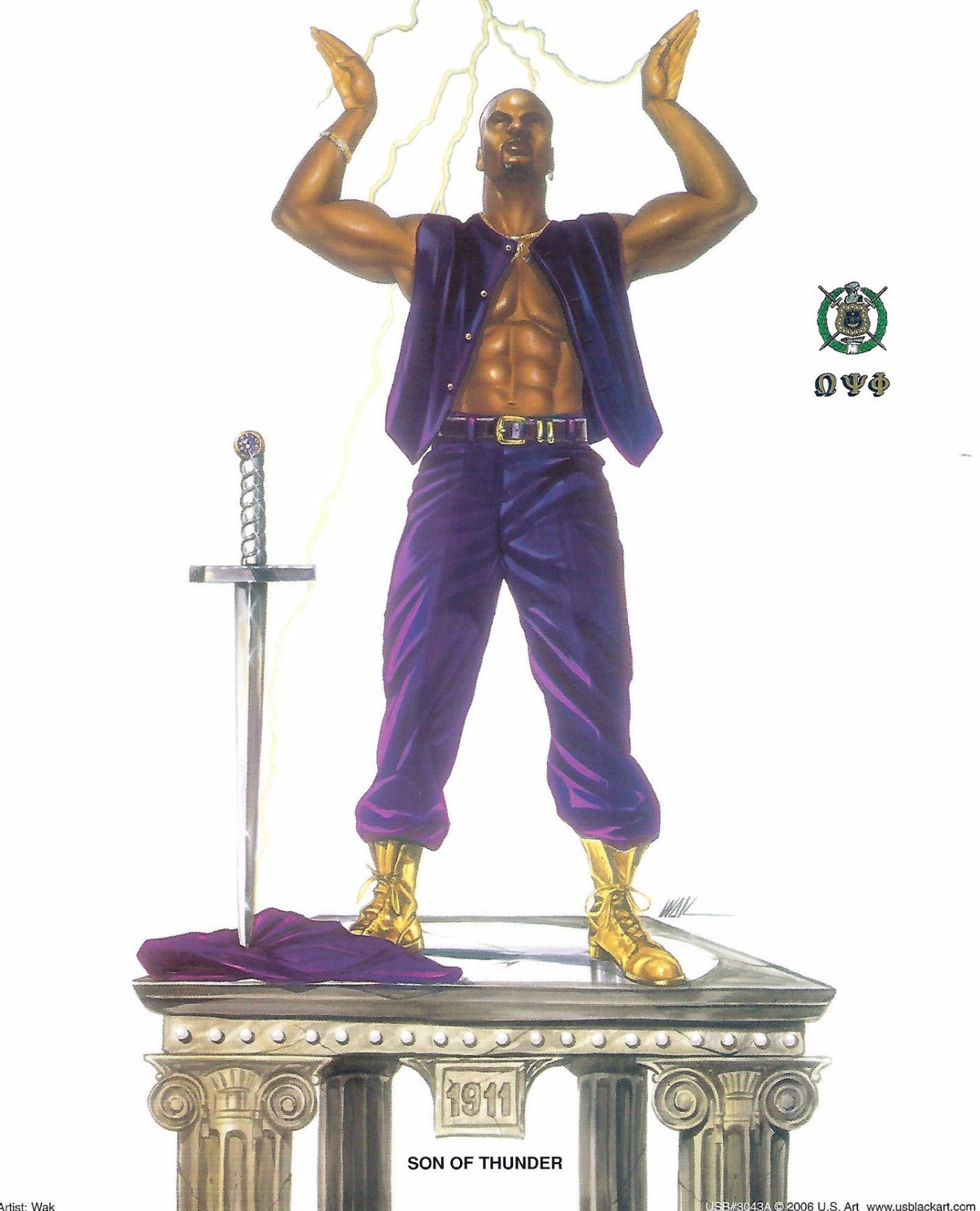 "Sons of Thunder (Omega Psi Phi) by Kevin ""WAK"" Williams (Art Print)"
