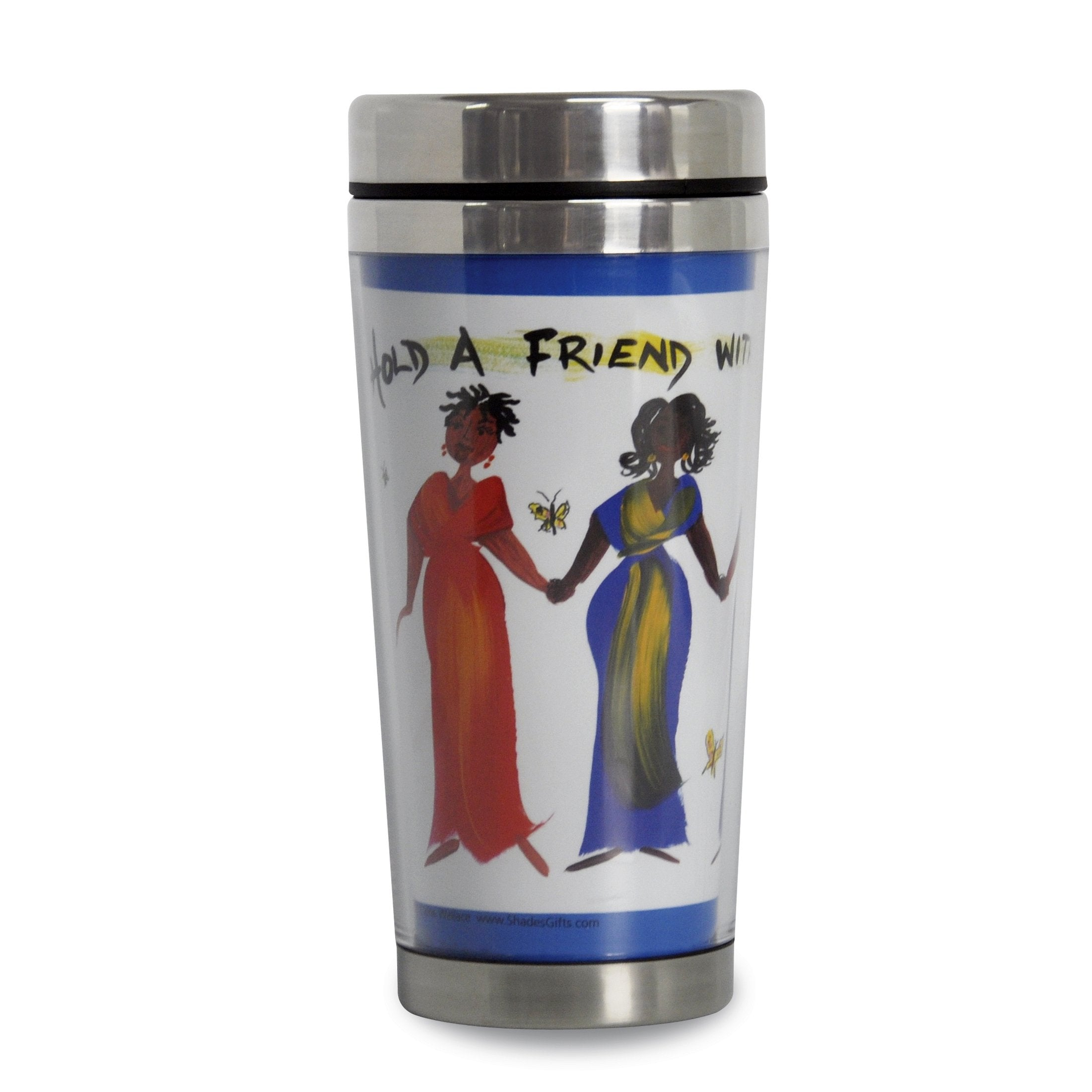 Hold a Friend With Both Your Hands: African American Travel Mug by Cidne Wallace (Front)