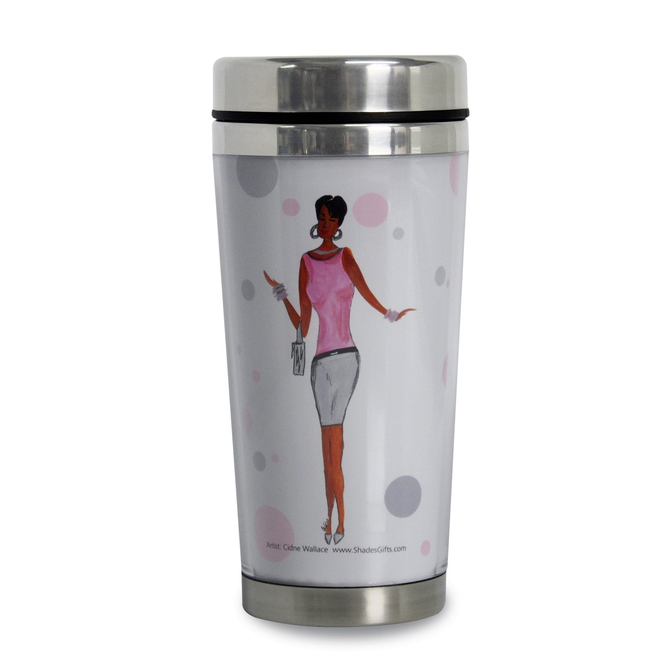 Dream It, Think It, Work It & Achieve It: African American Travel Mug by Cidne Wallace (Front)