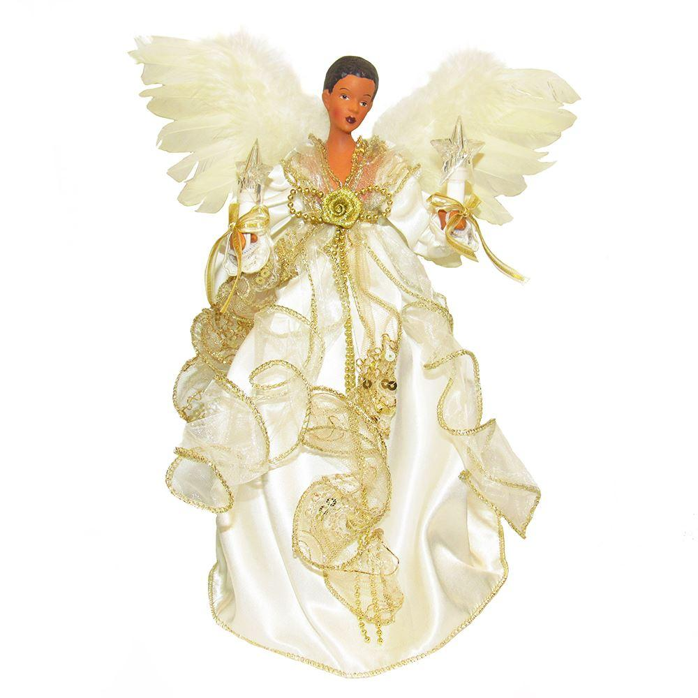 Ivory and Gold: African American Electric Christmas Tree Topper by Kurt Adler
