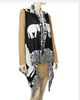 Delta Sigma Theta Inspired Black and Cream Elephant Fringe Vest