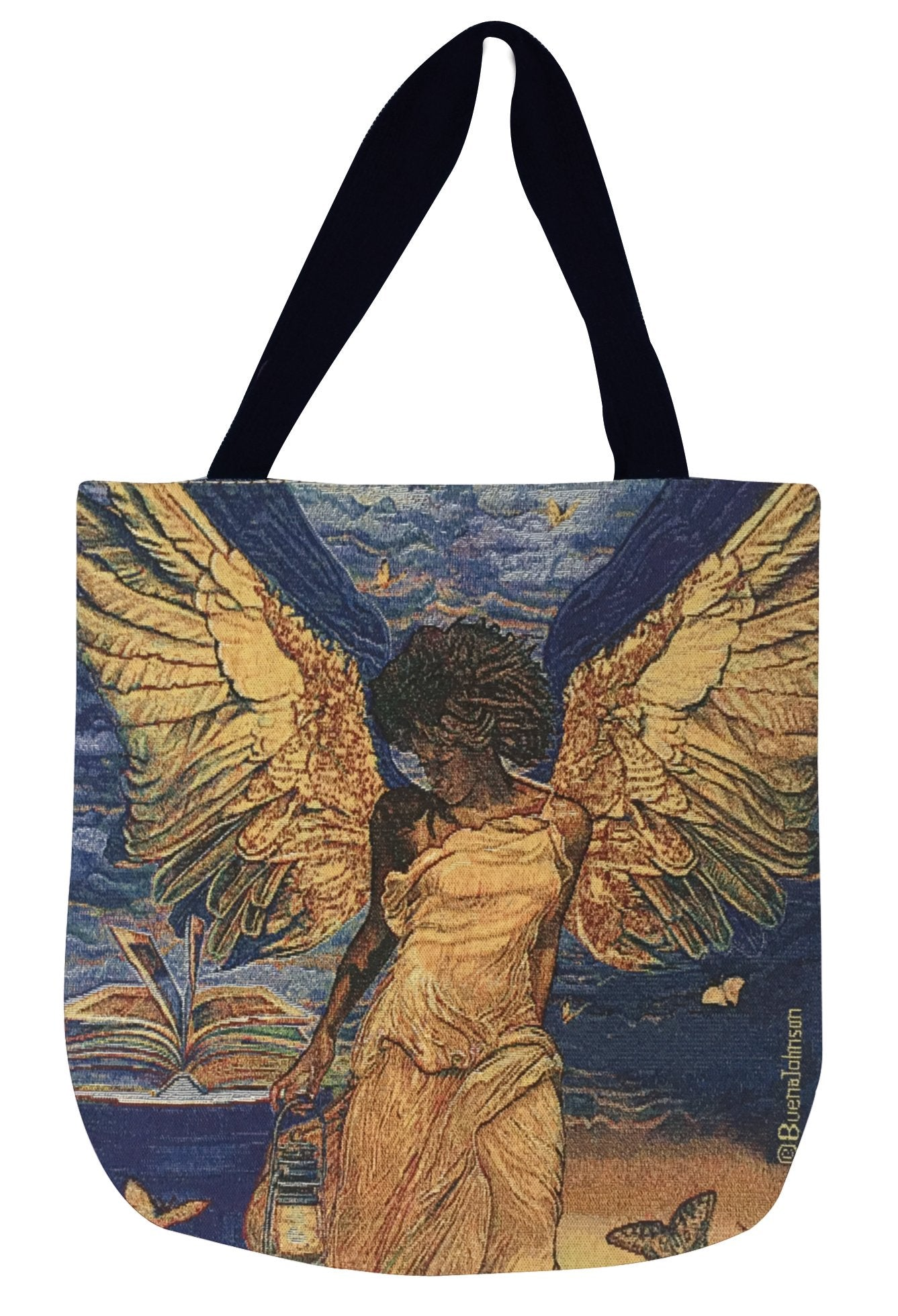 Angelic Guidance: African American Woven Tapestry Tote Bag by Buena Johnson