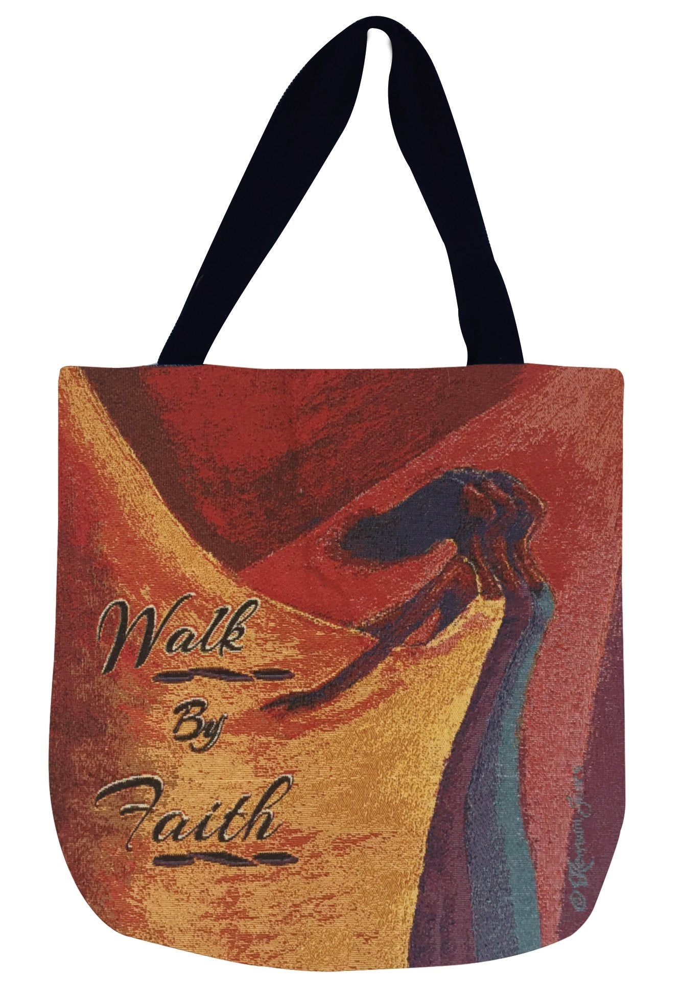 Walk by Faith: African American Woven Tapestry Tote Bag by Kerream Jones