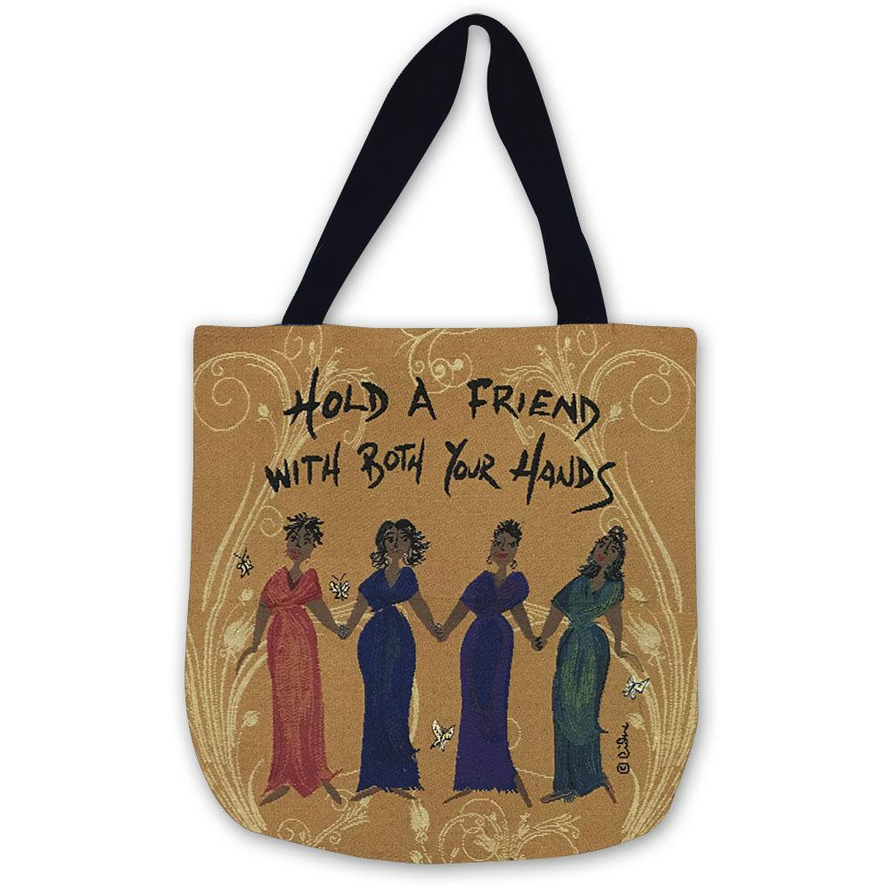 Hold a Friend With Both Your Hands: African American Tapestry Tote Bag by Cidne Wallace