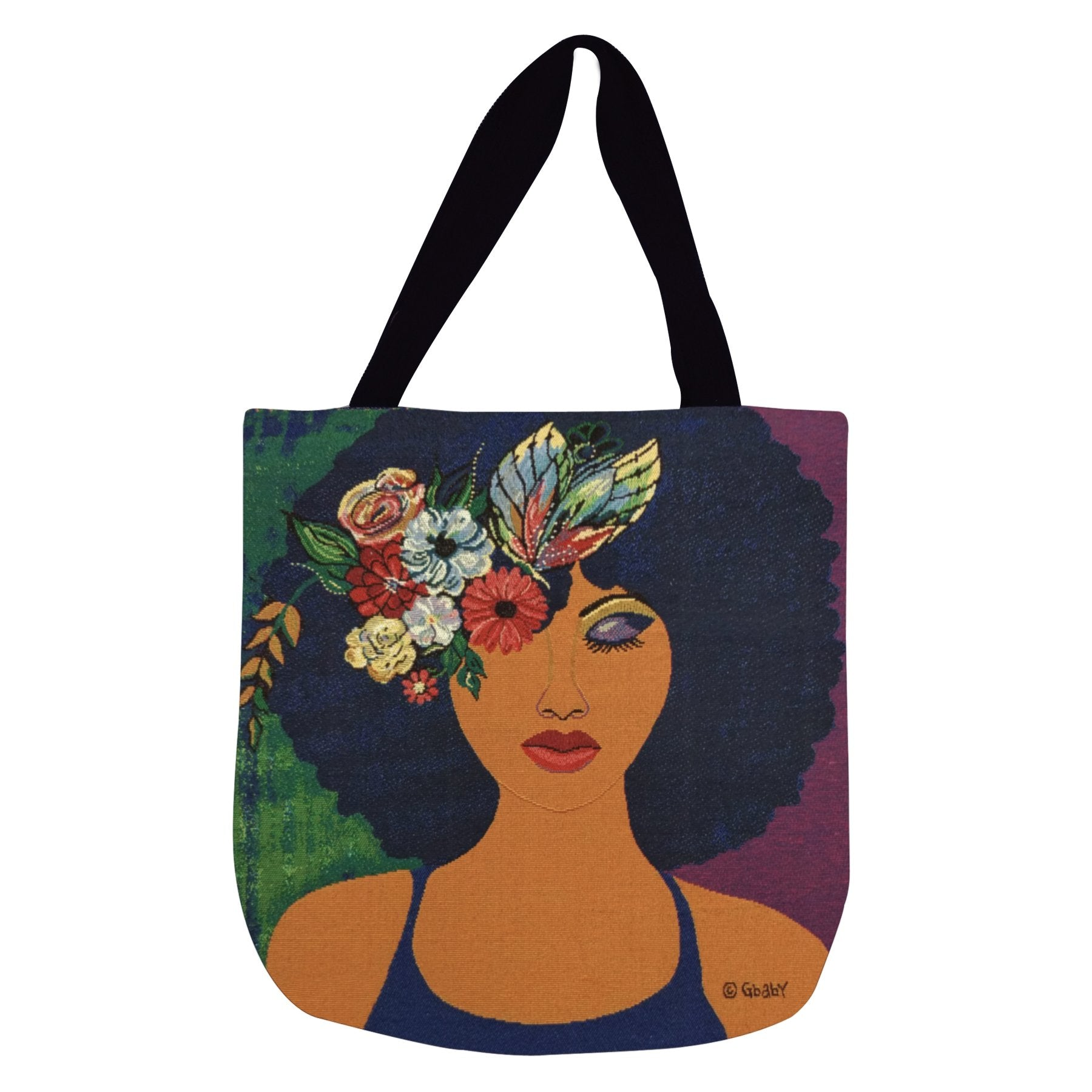 "Believe, Blossom and Become: African American Woven Tote Bag by Sylvia ""GBaby"" Cohen"