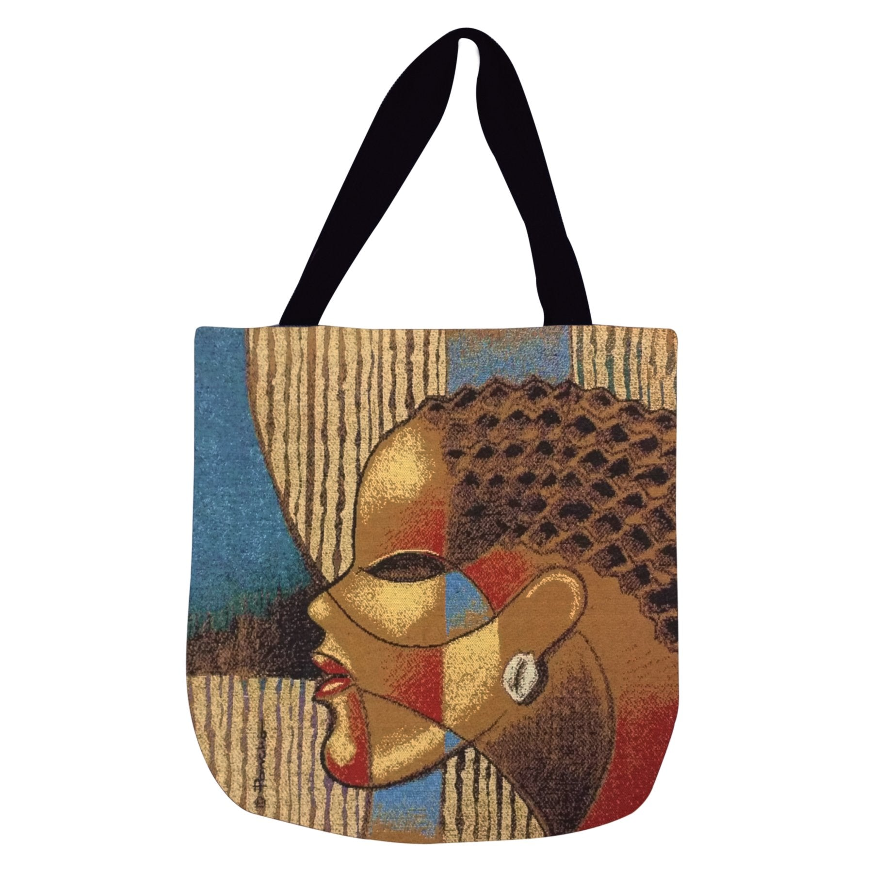 "Composite of a Woman: African American Woven Tote Bag by Larry ""Poncho"" Brown"
