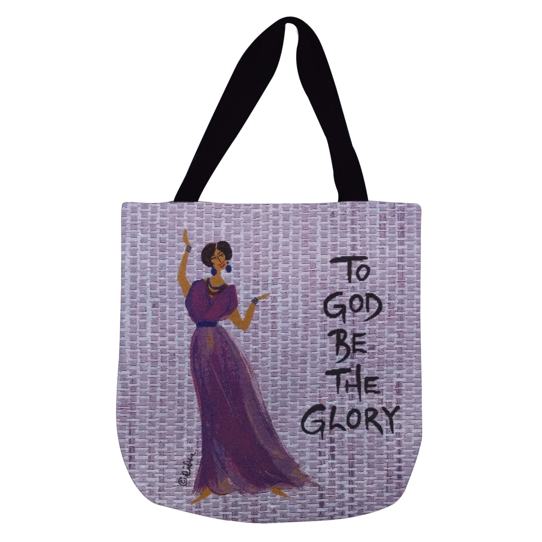 To God Be the Glory: African American Woven Tote Bag by Cidne Wallace