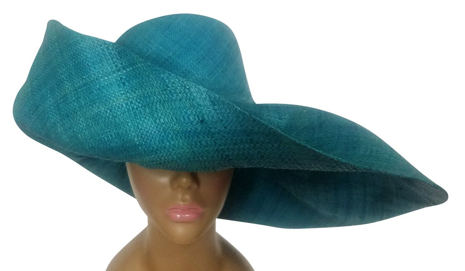 Xinavane: Authentic Hand Made Turquoise Blue Madagascar Big Brim Raffia Sun Hat