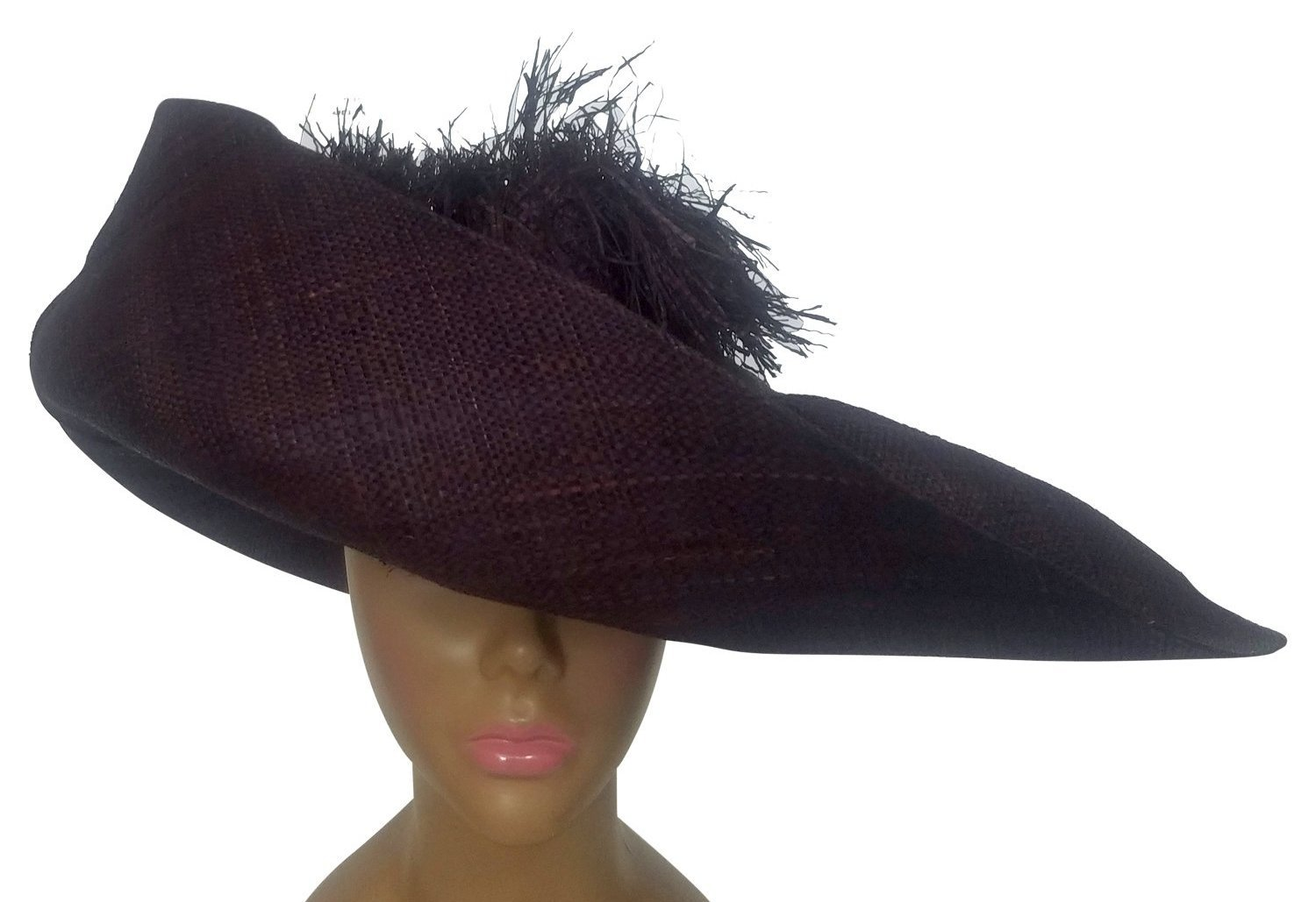 Waitherero: Hand Woven Madagascar Brownish Big Brim Raffia Crown Out Sun Hat