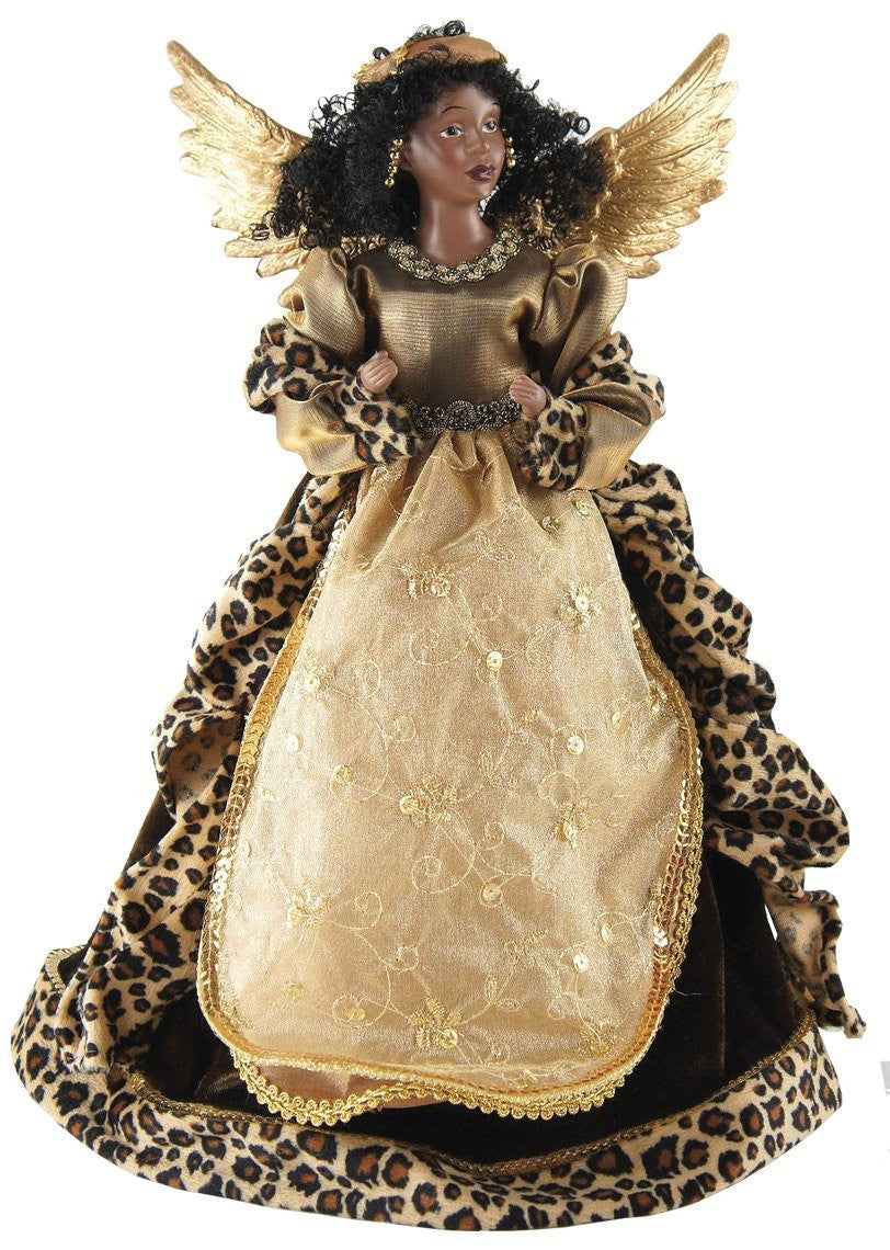 African American Leopard Angel Christmas Tree Topper