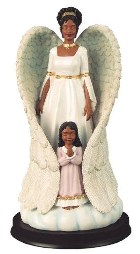 African American Protector Angel with Girl Figurine by Positive Image Gifts
