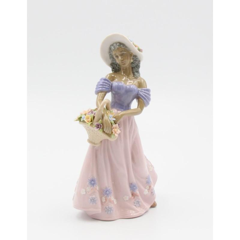 African American Flower Lady with Basket by Cosmos Gifts