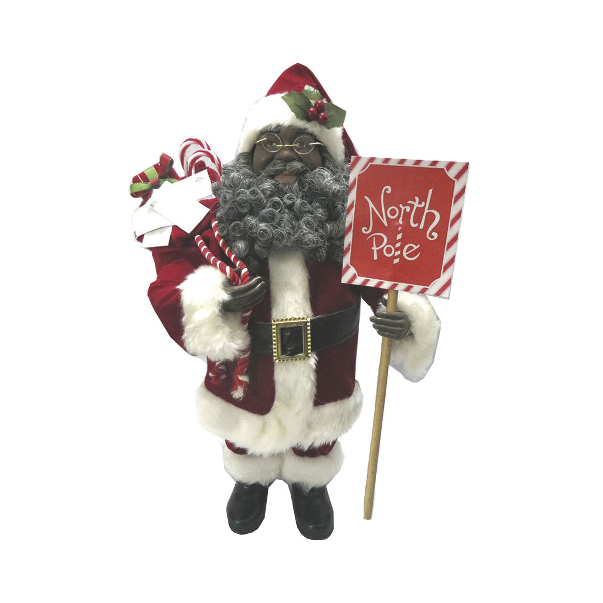 african american north pole santa claus figurine